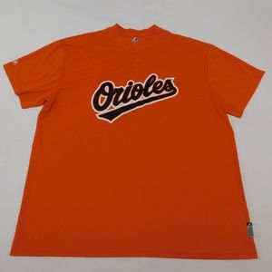 Majestic Orioles 2XL Orange Henley T Shirt  Polyes